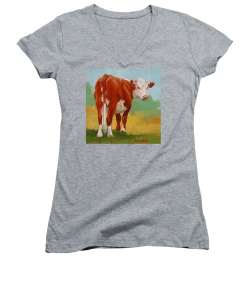 Women's V-Neck T-Shirt (Junior Cut) featuring the painting Young Cow by Margaret Stockdale