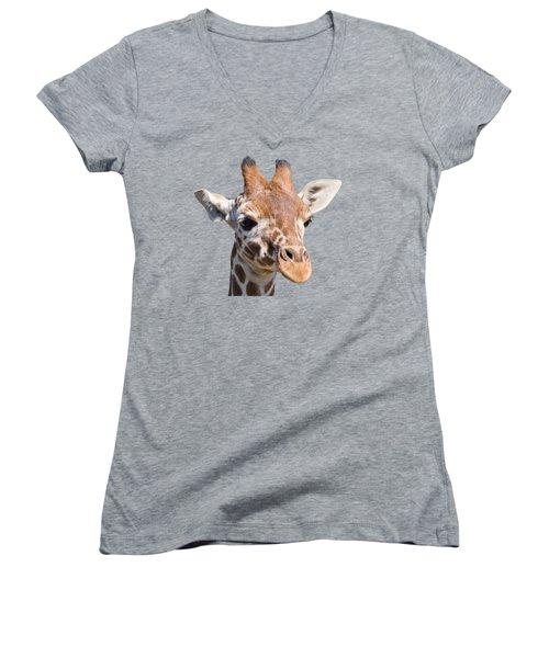 Young Giraffe  Women's V-Neck T-Shirt (Junior Cut) by Scott Carruthers