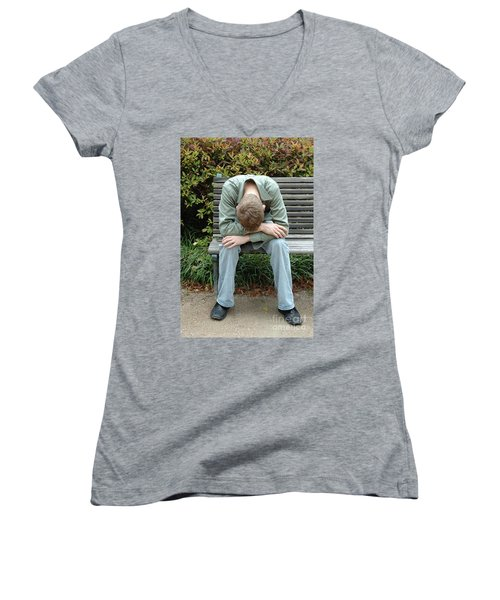 Young Man On Bench Women's V-Neck (Athletic Fit)