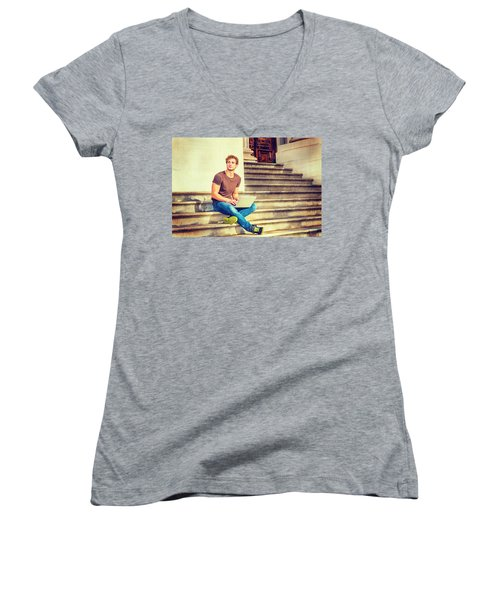 Young Man Working Outside In New York Women's V-Neck (Athletic Fit)