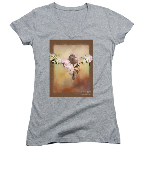 Young Morning Dove Women's V-Neck T-Shirt (Junior Cut) by Suzanne Handel