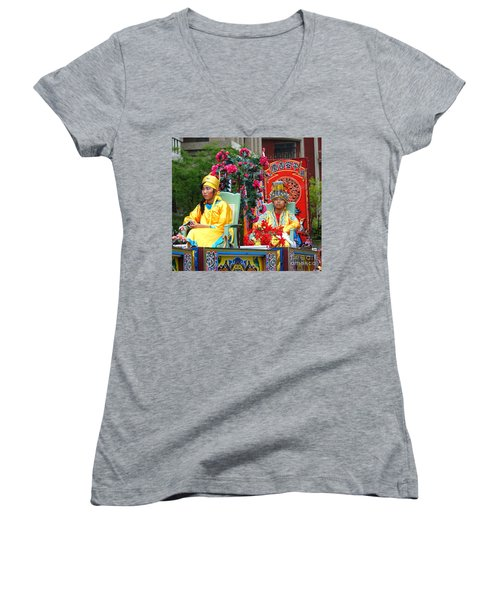 Women's V-Neck T-Shirt (Junior Cut) featuring the photograph Young People Dreesed In Traditional Chinese Robes by Yali Shi