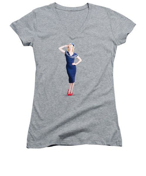 Young Retro Pinup Girl Wearing Sailor Uniform Women's V-Neck (Athletic Fit)