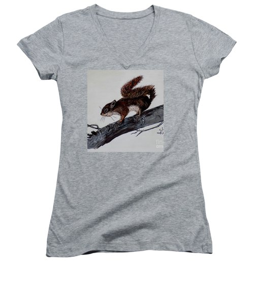Women's V-Neck T-Shirt (Junior Cut) featuring the painting Young Squirrel by Judy Kirouac