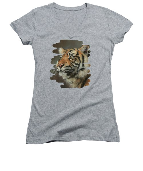 Young Sumatran Tiger Portrait Women's V-Neck (Athletic Fit)