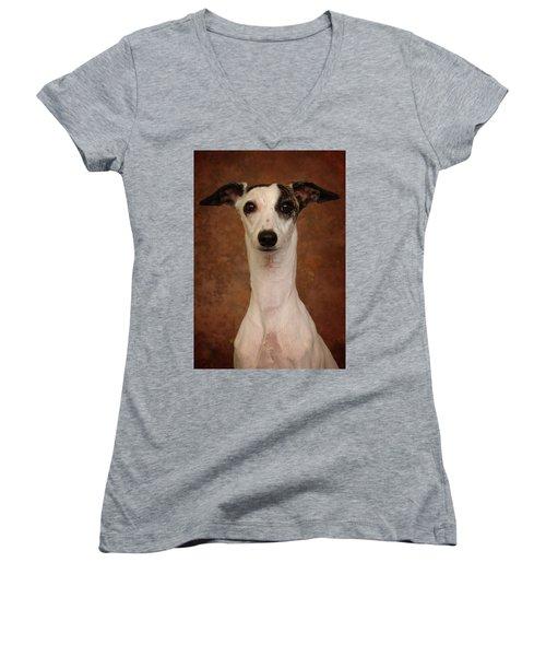 Women's V-Neck T-Shirt (Junior Cut) featuring the photograph Young Whippet by Greg Mimbs