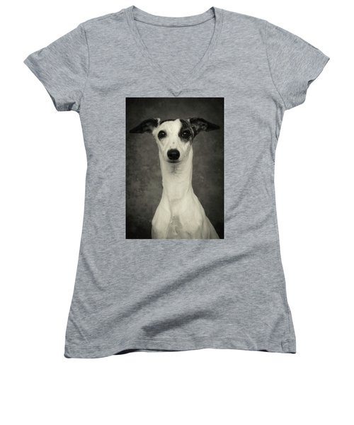 Young Whippet In Black And White Women's V-Neck T-Shirt