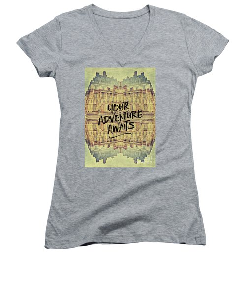 Your Adventure Awaits France Fontainebleau Chateau French Archit Women's V-Neck (Athletic Fit)