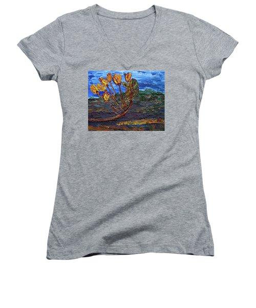 Women's V-Neck T-Shirt featuring the painting Youth Time by Vadim Levin