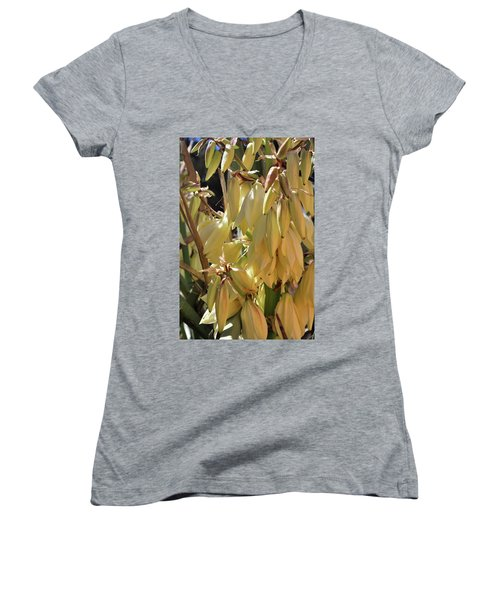Women's V-Neck featuring the photograph Yucca Bloom II by Ron Cline