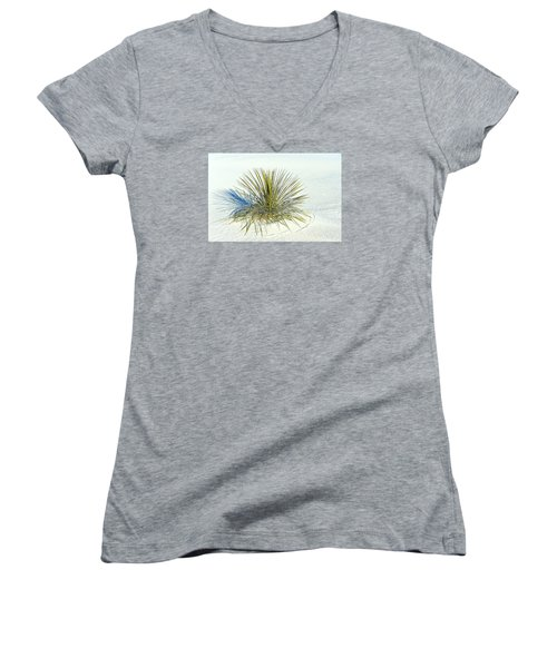 Yucca In White Sand Women's V-Neck T-Shirt (Junior Cut) by Jerry Cahill