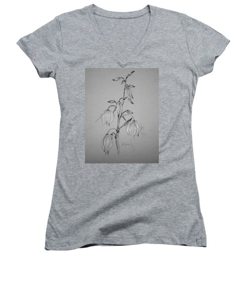 Women's V-Neck T-Shirt (Junior Cut) featuring the drawing Yucca by Marna Edwards Flavell