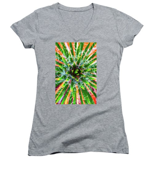 Yucca Sunrise Women's V-Neck T-Shirt (Junior Cut) by Darren White