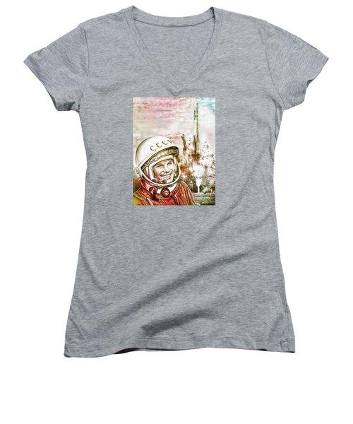 Yuri Gagarin - Cosmonaut 1961 Watercolor Women's V-Neck