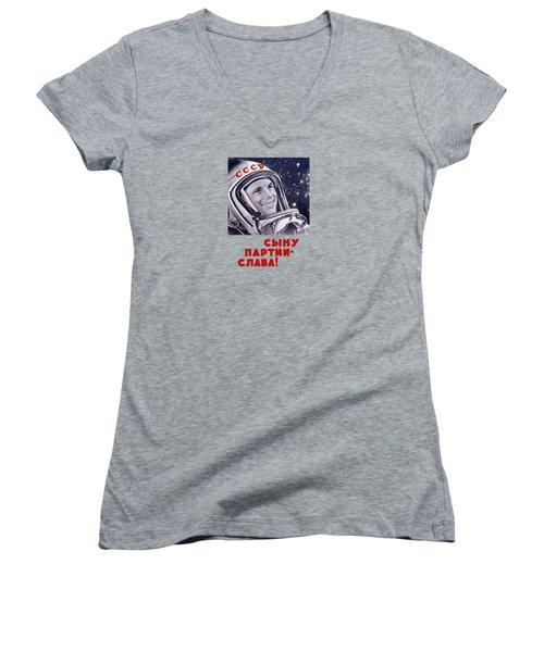 Yuri Gagarin - Soviet Space Propaganda Women's V-Neck T-Shirt