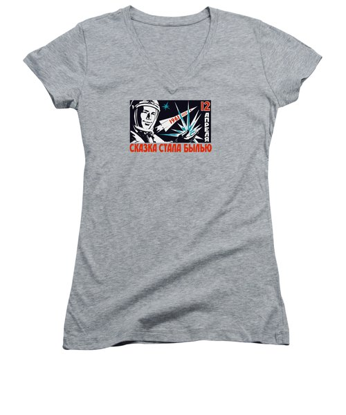 Yuri Gagarin - Vintage Soviet Space Propaganda Women's V-Neck T-Shirt