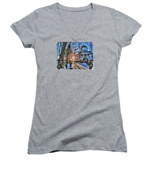 Yury Bashkin Churches, Russia Women's V-Neck T-Shirt (Junior Cut) by Yury Bashkin