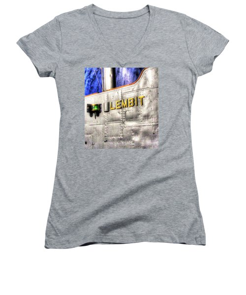 Women's V-Neck T-Shirt (Junior Cut) featuring the pyrography Yury Bashkin Element  Tallin Museum by Yury Bashkin