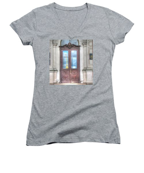 Women's V-Neck T-Shirt (Junior Cut) featuring the pyrography Yury Bashkin Old Door by Yury Bashkin
