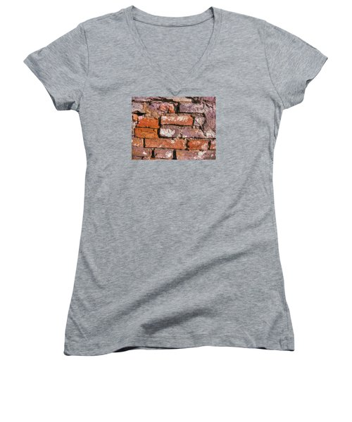 Women's V-Neck T-Shirt (Junior Cut) featuring the pyrography Yury Bashkin Old Wall by Yury Bashkin