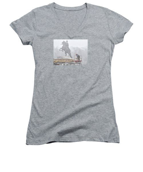 Yury Bashkin The Fog Street Peterburg Women's V-Neck T-Shirt (Junior Cut) by Yury Bashkin