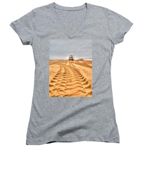 Yury Bashkin The Road On The Construction Women's V-Neck T-Shirt (Junior Cut) by Yury Bashkin