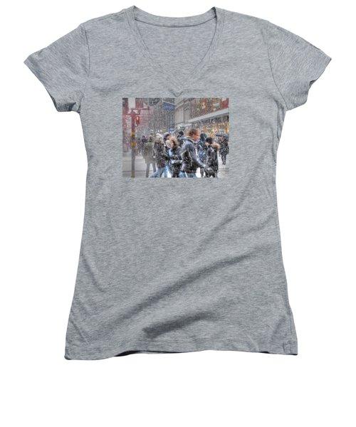 Yury Bashkin Winterstockholm Women's V-Neck T-Shirt (Junior Cut) by Yury Bashkin