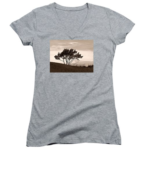 Women's V-Neck T-Shirt (Junior Cut) featuring the photograph Yyteri Evening by Jouko Lehto