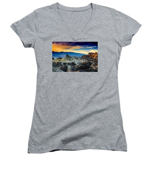 Zabriskie Point At Sundown Women's V-Neck T-Shirt (Junior Cut) by Janis Knight