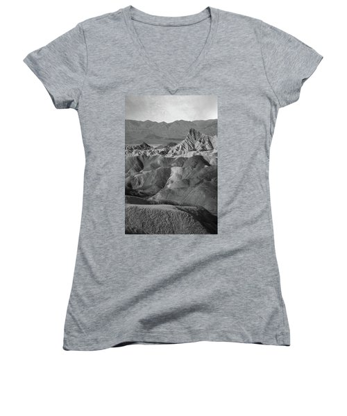 Zabriskie Point Portrait Women's V-Neck T-Shirt (Junior Cut) by Marius Sipa