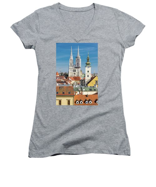 Zagreb Cathedral And St. Mary's Church Women's V-Neck T-Shirt (Junior Cut) by Steven Richman
