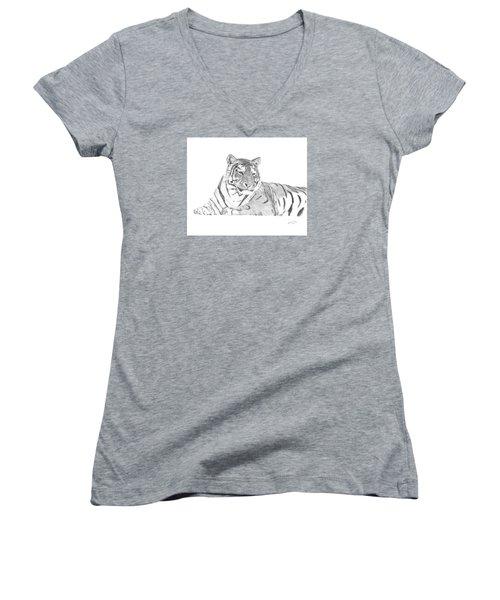 Women's V-Neck T-Shirt (Junior Cut) featuring the drawing Zarina A Siberian Tiger by Patricia Hiltz