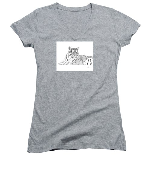 Zarina A Siberian Tiger Women's V-Neck T-Shirt
