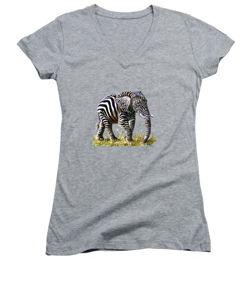 Zebraphant Women's V-Neck T-Shirt (Junior Cut) by Anthony Mwangi