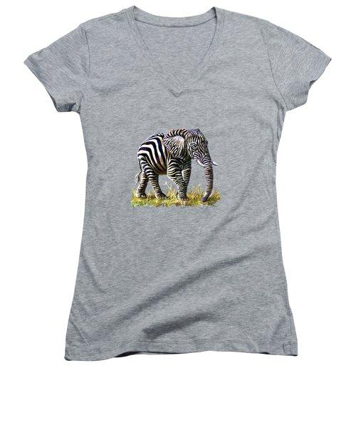 Zebraphant Women's V-Neck T-Shirt
