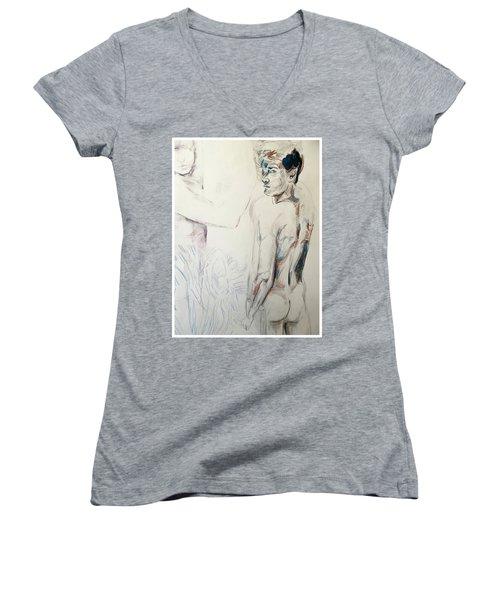 Zebra Boy Sketch 2017 Women's V-Neck T-Shirt