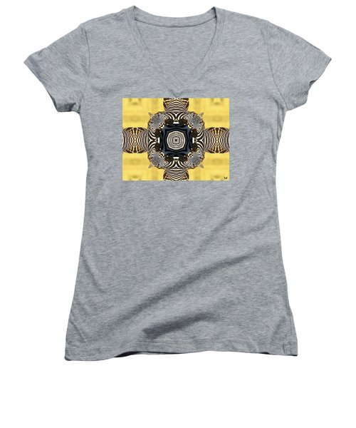 Zebra Cross Women's V-Neck T-Shirt (Junior Cut) by Maria Watt