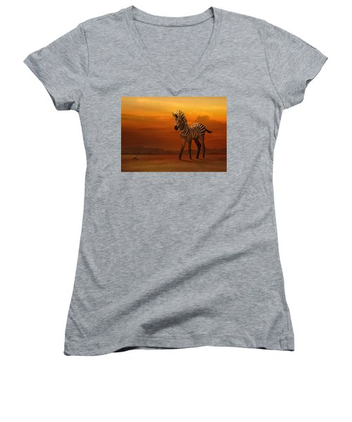 Zebra Fawn  Women's V-Neck (Athletic Fit)