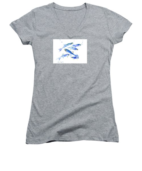 Zebra Fish, Danio Women's V-Neck T-Shirt