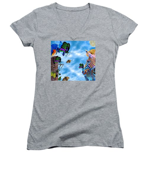 Zebras Birds And Butterflies Good Morning My Friends Women's V-Neck T-Shirt (Junior Cut) by Saundra Myles
