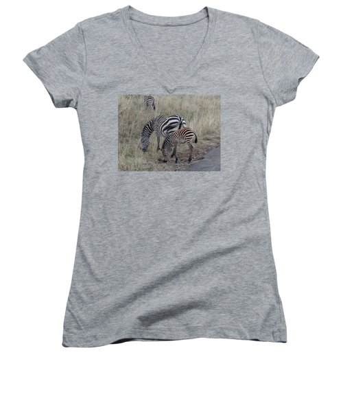 Zebras In Kenya 1 Women's V-Neck T-Shirt