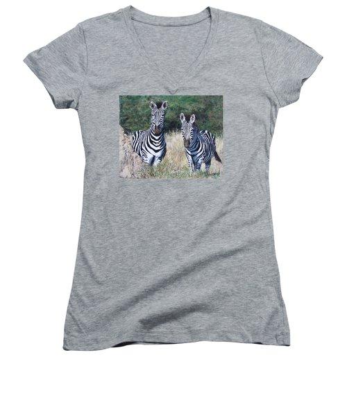 Zebras In South Africa Women's V-Neck T-Shirt