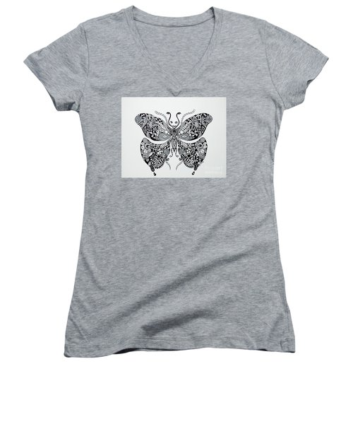 Women's V-Neck T-Shirt (Junior Cut) featuring the drawing Zen Butterfly by Tamyra Crossley