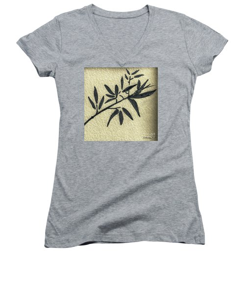 Zen Sumi Antique Botanical 4a Ink On Fine Art Watercolor Paper By Ricardos Women's V-Neck