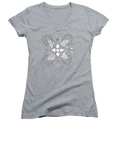 Zendala On The Beach Women's V-Neck T-Shirt (Junior Cut) by Lori Kingston