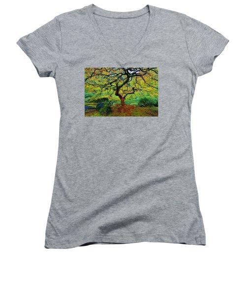 Women's V-Neck T-Shirt (Junior Cut) featuring the photograph Zentastick by Jonathan Davison