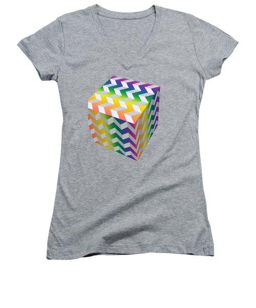 Zig Zag Cube Women's V-Neck T-Shirt (Junior Cut) by Chuck Staley