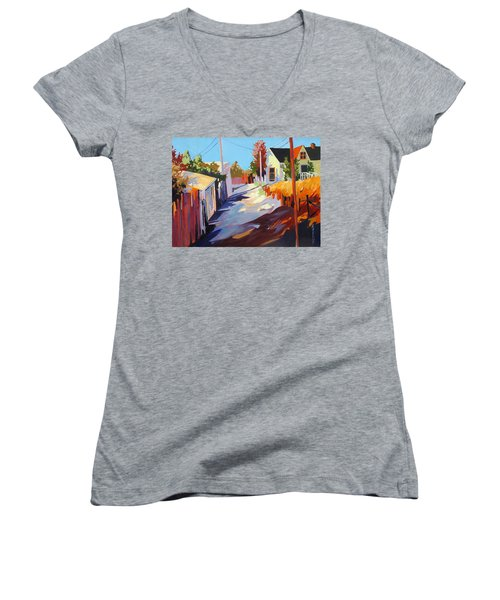 Women's V-Neck T-Shirt (Junior Cut) featuring the painting Zig Zag Shadows by Rae Andrews