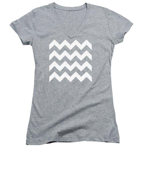 Women's V-Neck T-Shirt (Junior Cut) featuring the digital art Zig Zag - White - Transparent by Chuck Staley