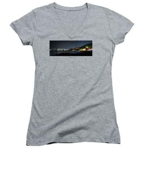 Women's V-Neck T-Shirt (Junior Cut) featuring the photograph Zihuatanejo, Mexico by Jim Walls PhotoArtist